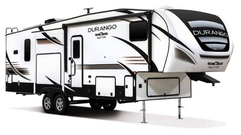 2019 KZ RV Durango Half Ton D256RKT Fifth Wheel Exterior Front 3 4 Door
