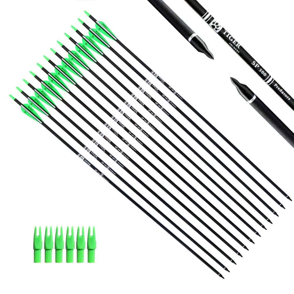Tiger Archery 30 Inch Carbon Arrow Practice Hunting Arrows